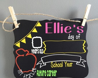 Back to School Sign, First/last Day of School Sign Reusable, School Chalk Board Sign