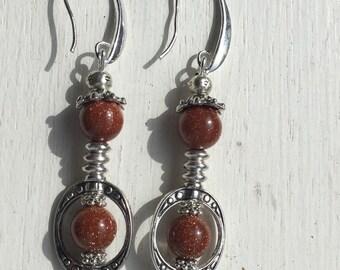 Sunstone bead Earrings