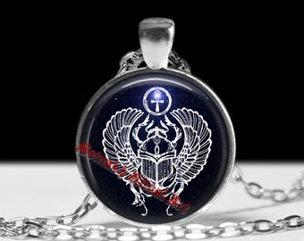 Egyptian jewelry, sacred scarab pendant, beetle necklace, | occult pendant, ritual necklace, magic talisman, esoteric jewelry #160