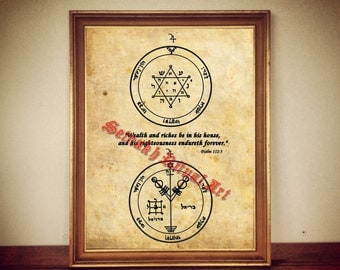 Wealth blessing | second and fourth Jupiter Pentacle print, Psalm quote, The Greater Key of Solomon poster, occult print, occult decor #103