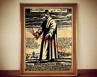 Death doctor print, medieval print, medieval illustration, plague doctor poster | occult print, occult poster, rustic vintage home decor 170
