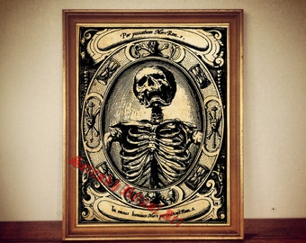 Memento Mori print, death reaper poster, skeleton print, macabre, scary poster, occult print, horror decor, vintage occult, home decor 173