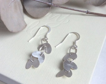 Silver Petals Drop Earrings