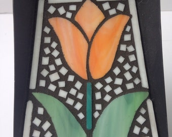 Glass Mosaic Fireplace Shovel with Orange Tulip - Mosaic Art - Glass Tile Art