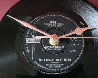 "Cher all i really want to do  7"" vinyl record clock"