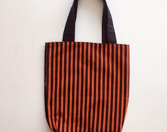 Trick or Treat Bag, Children's Trick or Treat Bag, Halloween Tote Bag, Orange and Black Striped Bag