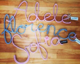 First name - customizable inspiring word - woolen word - wall decor