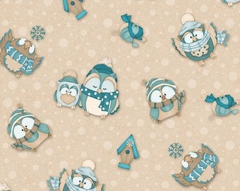 Owls Henry Glass Flannel Fabric Owls