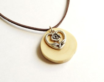 Wooden necklace, Tibetan silver heart and wood necklace, Tibetan silver and wood pendant, eco friendly necklace (0235)