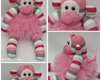 Beautiful handmade Pink Sock Monkey with matching tutu, from Nelly Blue Crafts
