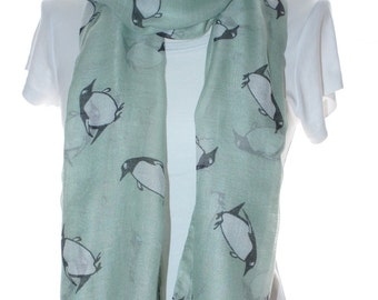 Penguin Print mint Scarf Shawl Beach Wrap, mint Cowl Scarf Pareo,penguin Oversized Scarf, Cotton Scarf, Gift For Her,