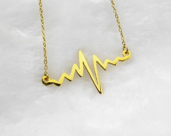 Heartbeat Necklace, Beating Heart Necklace,Heart Necklace,Heart Line Necklace, Heartbeat Charm,Heart Beating Pulse Necklace N051