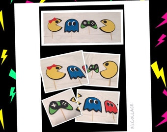 Retro pacman cupcake toppers, pacman cupcake toppers, pacman party decor, retro party decor