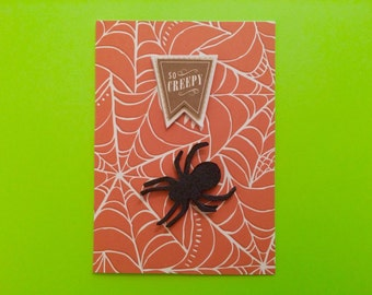 Creepy Black Glitter Spider Halloween Card