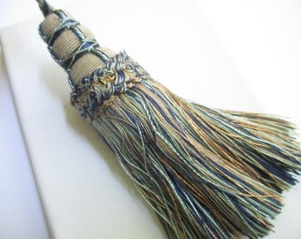 Key Tassel - 8 inch -Navy/Gold/Sage  - Trim/Upholstery/Drapery/Home Decor/Armoire/Desk Key