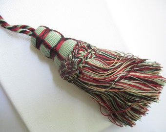 Key Tassel - 8 inch -  Black/Burgundy/Green/Gold - Trim/Upholstery/Drapery/Home Decor/Armoire/Desk Key