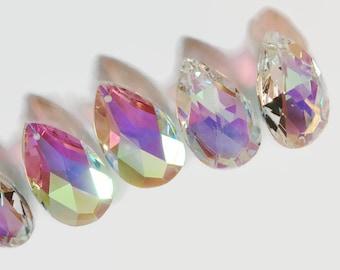 5 Asfour 50mm AB Tear Drop 30% Lead Crystal prisms, Chandelier Crystals, Wedding Chrystal, Sun Catcher Wind Chime Supply