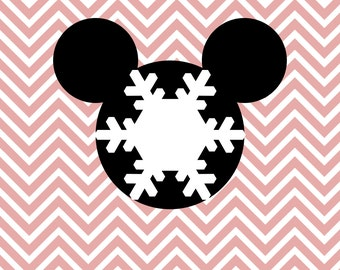 Christmas Mickey Mouse Minnie Mouse Disney Snowflake SVG, DXF for Cricut Design Space, Silhouette, Instant Download of svg, dxf & jpg