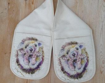 Designer Hedgehog art oven gloves , 100% cotton made in uk , watercolour  design by nicola jane rowles