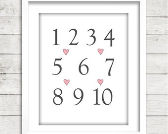 SALE - 20% OFF - Numbers One Through Ten Nursery Art for Baby Girl or Baby Boy - Number Nursery Art - You Pick the Colors!