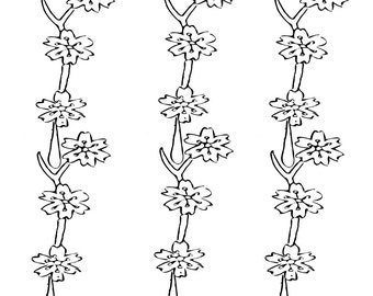 Twigs and Flower Stencil - Wall Art Stencil Reusable Mylar, wall art, small to large stencils up to 19.5 x 27.5 inches.