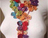 Crochet Scarf in Different Options,Multicoloured Scarves, Floral Scarf  ,,      SALE!!