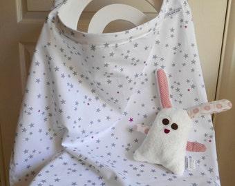 CAPE/apron of cotton BREASTFEEDING - grey stars and fuchsia