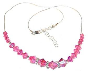 ROSE PINK Crystal Necklace Swarovski Elements Sterling Silver Handcrafted