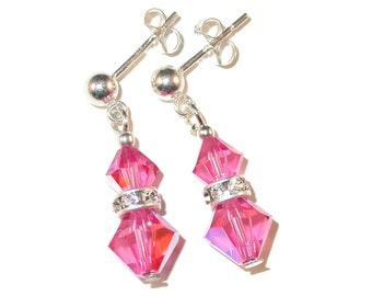ROSE PINK Crystal Earrings Sterling Silver Dangle Swarovski Elements - Clip-on or Pierced