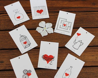 Gift tags with heart subject -  set of 8 tags