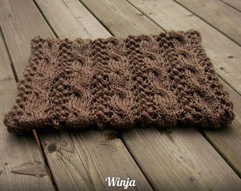 Knitted scarf, knitted cowl, knitted snood, chunky cowl, brown infinity scarf, rustic knit cowl, hand knit scarf, circle scarf,