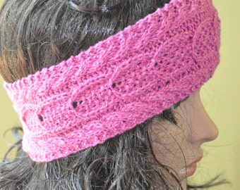 Handknit earwarmer headband lightweight wool silk
