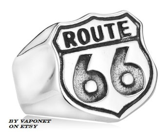 Mens Biker Ring - Mens Ring - Steel Ring - USA Road Ring - Stainless Titanium Steel Ring -Mens Jewelry Rings -Route 66 Ring - Mens Gift Ring