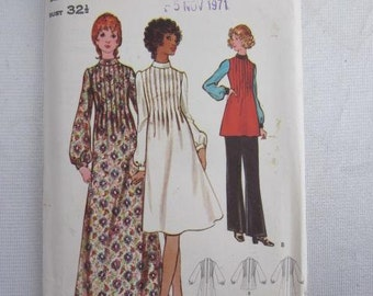 "1971 BUTTERICK SEWING PATTERN 6336 Size 10 Bust 32 1/2"" Uncut Junior & Misses 1970s Fashion"