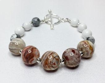 Jasper Bracelet Howlite Bracelet Multi Bead Bracelet Natural Stone Jewellery Beaded Stone Jewelry Fall Bracelet Multi Colour Bracelet