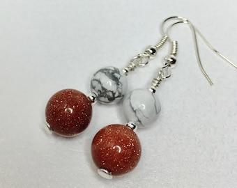Gold Sandstone Earrings Howlite Earrings Multi Coloured Drop Earrings Natural Stone Jewellery Gift for Her Dual Gemstone Earrings
