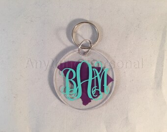 Personalized Gift, State Keychain, Monogram Gift, Monogrammed Keychain, Personalized Acrylic, Monogram, Keychain, Bridal Gift, State Gift
