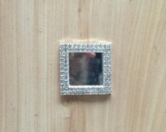 Rhinestone square bezel cameo-1 inch center, 1 1/2 cameo