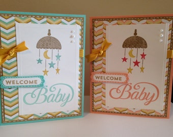 Stampin up Welcome Baby with Star Mobile Card