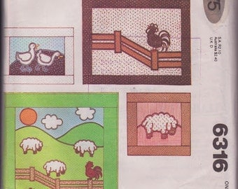 Wall Hangings Quilt Pillows Farm Animals Sheep Ducks Chickens Pattern McCall's 6316 Vintage 1978