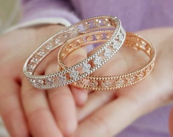 Four Leaves Flora Rose Gold  and Silver Bangle