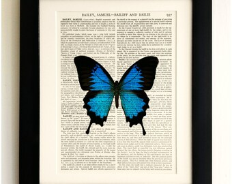 ART PRINT on old antique book page - Large Blue & Black Butterfly, Vintage Upcycled Wall Art Print, Encyclopaedia Dictionary Page, Fab Gift!