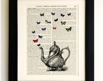 ART PRINT on old antique book page - Teapot with Butterflies, Vintage Upcycled Wall Art Print, Encyclopaedia Dictionary Page, Fab Gift!