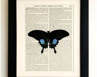 ART PRINT on old antique book page - Large Black/Blue Butterfly, Vintage Upcycled Wall Art Print, Encyclopaedia Dictionary Page, Fab Gift!