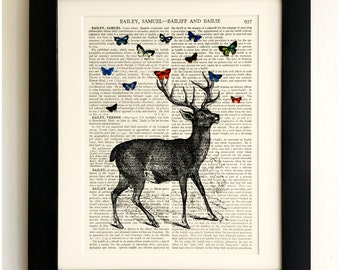 ART PRINT on old antique book page - Stag with Butterflies, Vintage Upcycled Wall Art Print, Encyclopaedia Dictionary Page, Fab Gift!