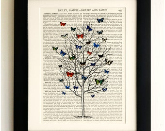 ART PRINT on old antique book page - Tall tree with Butterflies , Vintage Upcycled Wall Art Print, Encyclopaedia Dictionary Page, Fab Gift!