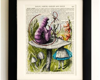 ART PRINT on old antique book page - Alice in Wonderland, Caterpillar, Vintage Upcycled Wall Art Print, Encyclopaedia Dictionary Page, Gift