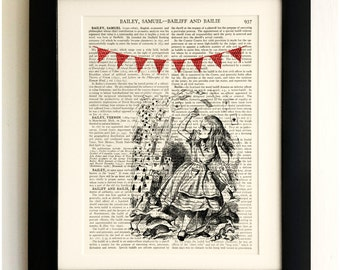 ART PRINT on old antique book page - Alice in Wonderland, Playing Cards, Vintage Upcycled Wall Art Print Encyclopaedia Dictionary Page, Gift