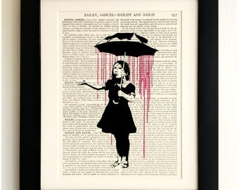 ART PRINT on old antique book page - Banksy, Girl with Umbrella, Vintage Upcycled Wall Art Print, Encyclopaedia Dictionary Page