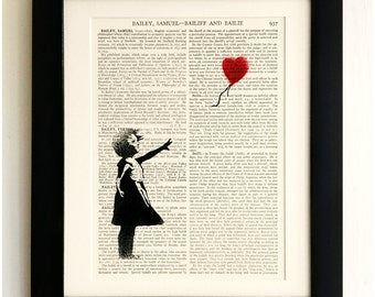 ART PRINT on old antique book page - Banksy, Girl with Balloon, Vintage Upcycled Wall Art Print, Encyclopaedia Dictionary Page